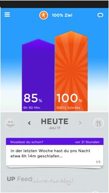 Jawbone Zusammenfassung in der App