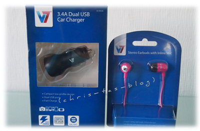 V7 USB Car Charger und InEars pink