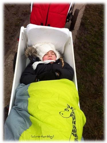 Virginia schläft im Bollerwagen