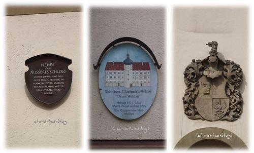 Wappen und Schilder am Neuen Schloss Neustadt a.d. Aisch