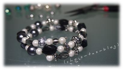 Wickelarmband schwarz-weiß-silber