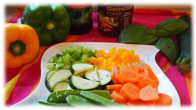 Zutaten Gemüse Pfanne mit Kokos Curry Sauce
