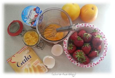 Zutaten für Erdbeerdessert mit Orangencreme