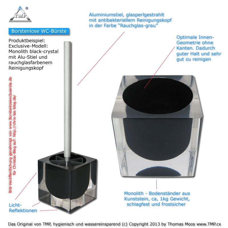borstenlose WC-Bürste Bodenständer black Crystal
