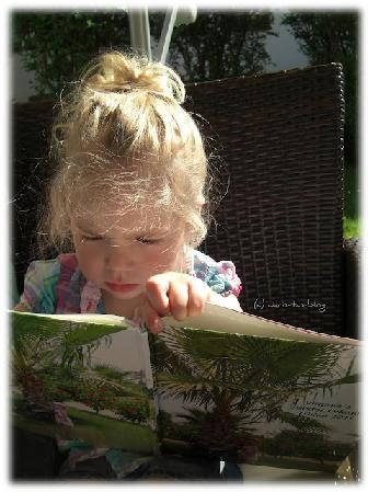 Virginia betrachtet ihr fotobuch