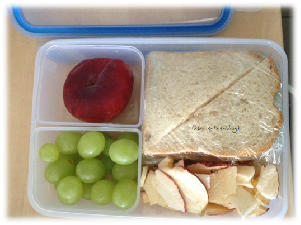 Sandwich und Obst in den Clip & Close Dosen