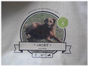 Hundefutter-Packung mit Beschriftung und Foto