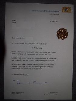 Glückwunsch-Schreiben des Bayerischen Ministerpräsidenten