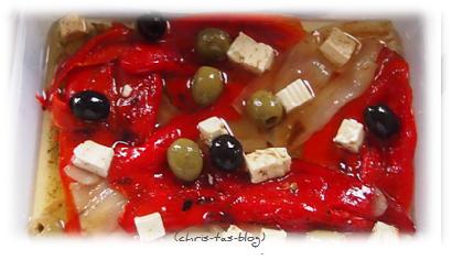gegrillten Paprika in Olivenöl einlegen