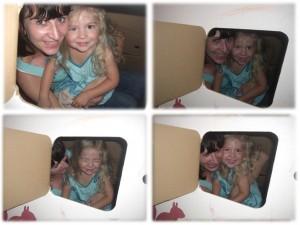 Zusammen mit Enkeltochter im Spielhaus aus Pappkarton