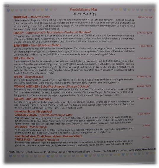 Produktkarte Mamibox Mai 2013