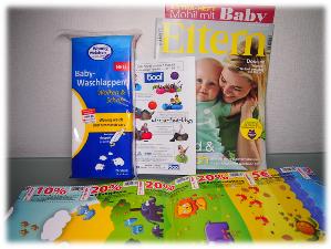 Eltern-Zeitschrift, Messlatte und Baby-Waschlappen