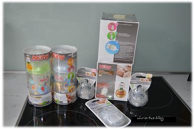Inhalt unseres Testpaketes von kidsgo-Testfamilie Nubi Anti-Kolik-Flasche, Sauger