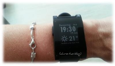 pebble Smartwatch mit installierter App