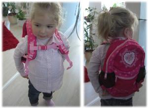 Virginia und ihr neuer Scouty- Rucksack in pink