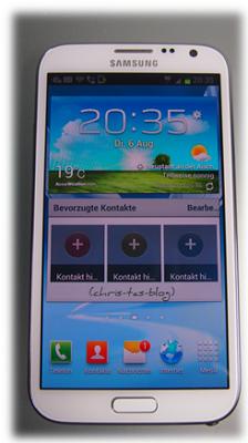 Startbildschirm vom Samsung Galaxy Note II
