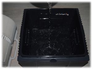 Wasser wird in den Behälter eingefüllt