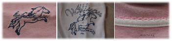gesticktes Pony auf dem Schlafshirt